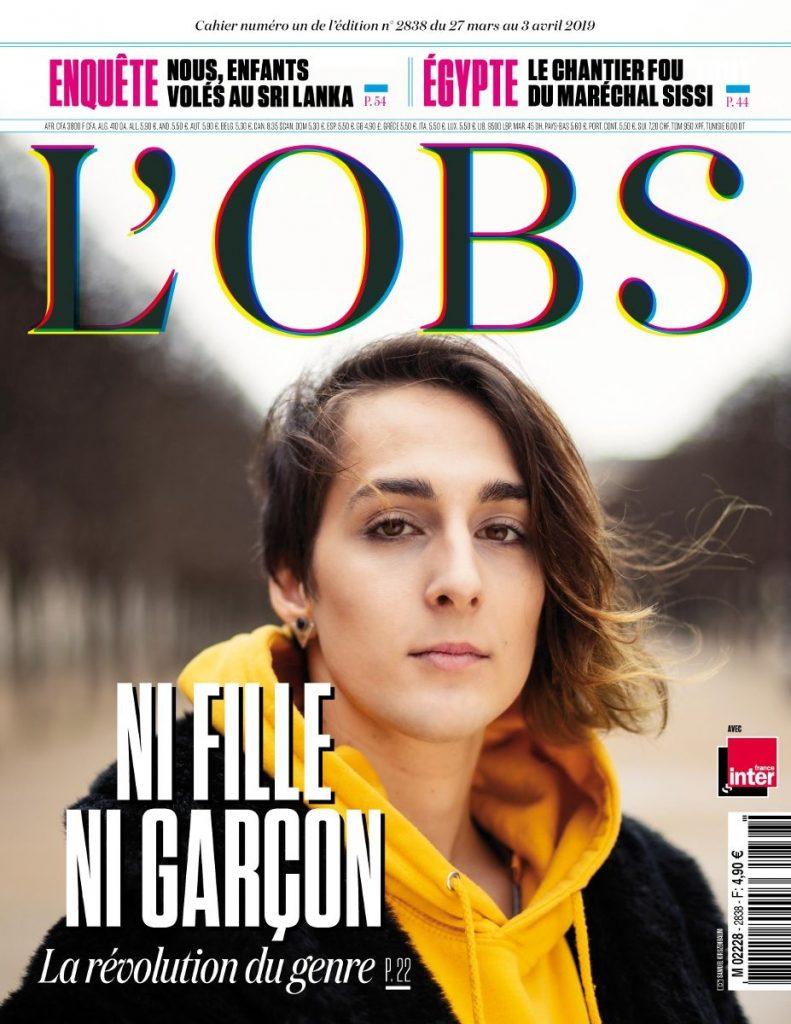 Couverture de L'Obs, mars 2019. Ni fille ni garçon, la révolution du genre