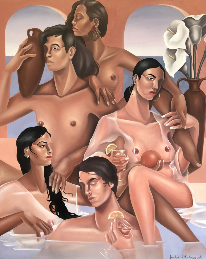 Peinture où se mélange deux hommes et trois femmes, dans l'eau d'un hammam. Architecture du fond avec deux ouvertures et l'homme de gauche tient une amphore dans sa main droite. Composition en triangle, tous les protagonistes sont dans un position lascive et paisible.